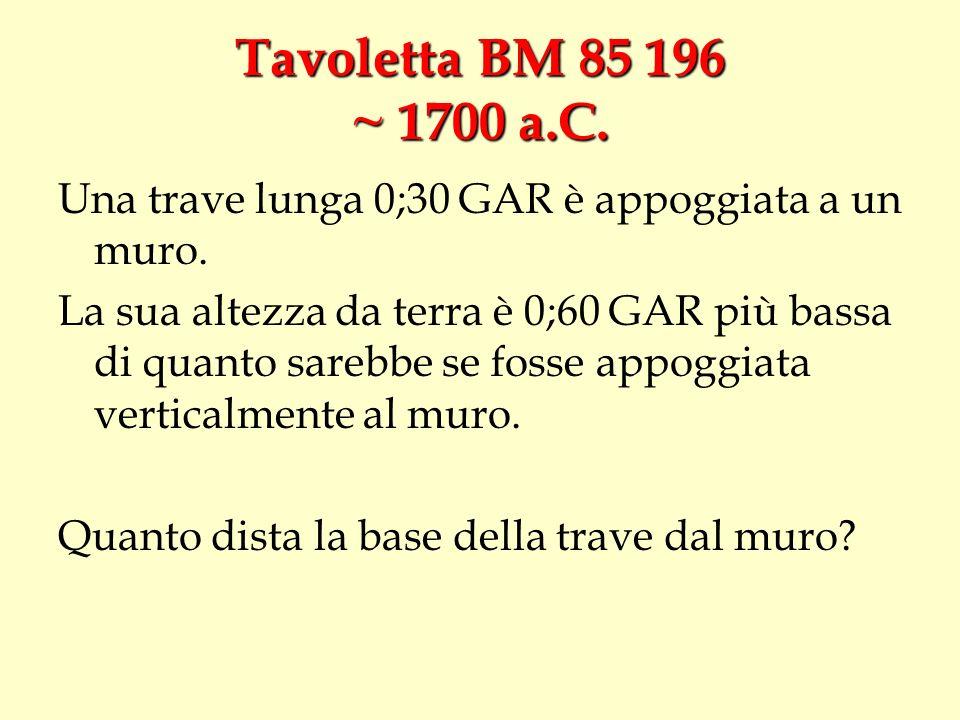Tavoletta BM 85 196 ~ 1700 a.C.Una trave lunga 0;30 GAR è appoggiata a un muro.