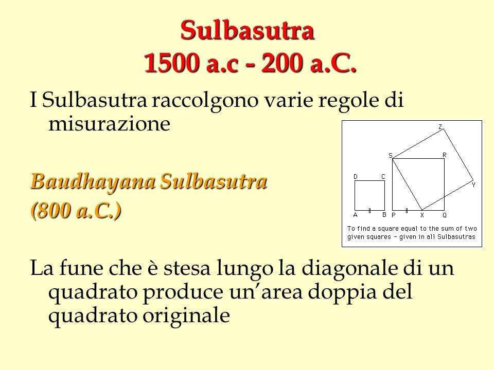 Sulbasutra 1500 a.c - 200 a.C. I Sulbasutra raccolgono varie regole di misurazione. Baudhayana Sulbasutra.