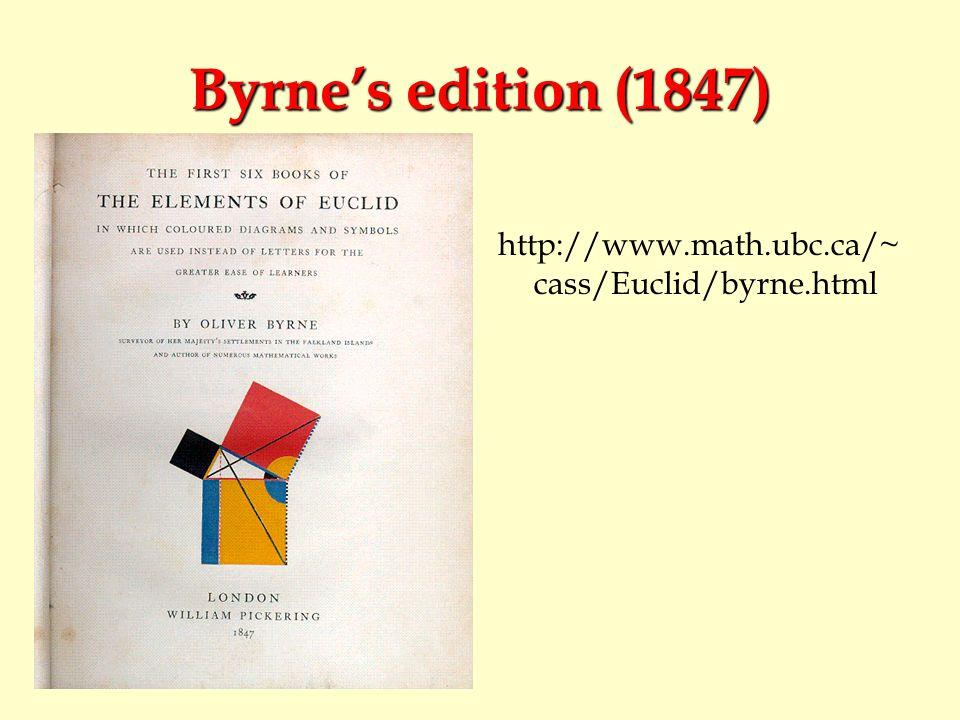 Byrne's edition (1847) http://www.math.ubc.ca/~cass/Euclid/byrne.html