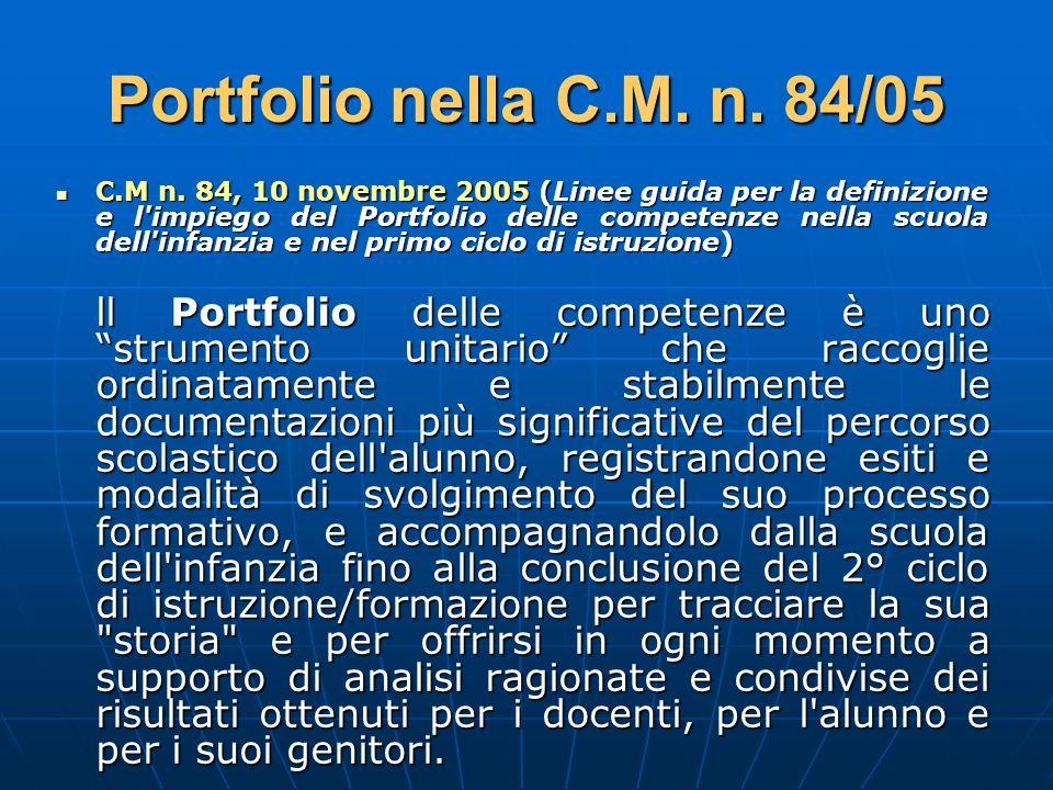 Portfolio nella C.M. n. 84/05