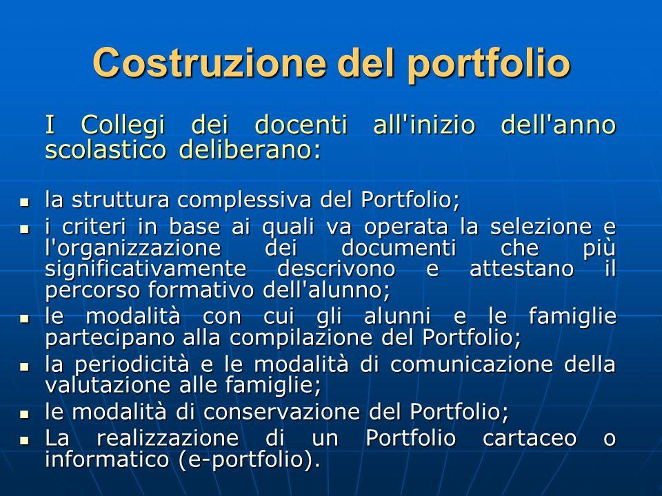 Costruzione del portfolio