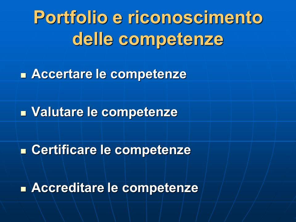 Portfolio e riconoscimento delle competenze