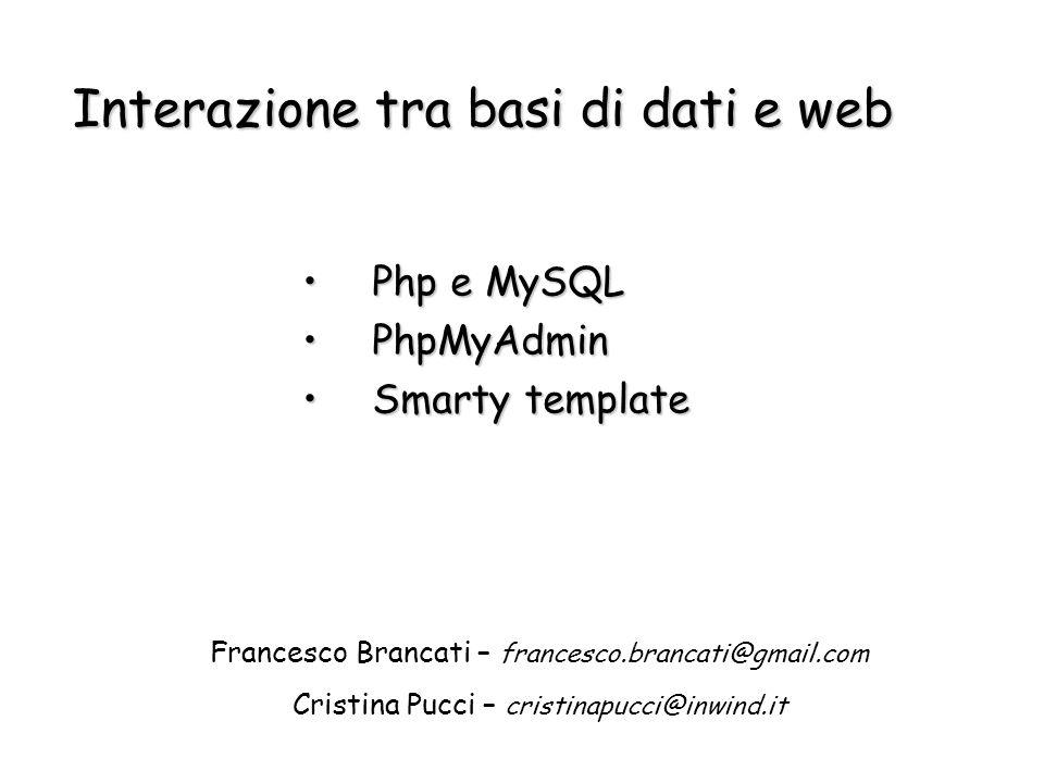 Interazione tra basi di dati e web