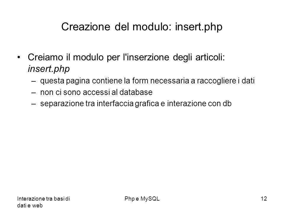 Creazione del modulo: insert.php