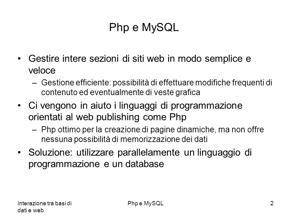 Php e MySQL Gestire intere sezioni di siti web in modo semplice e veloce.