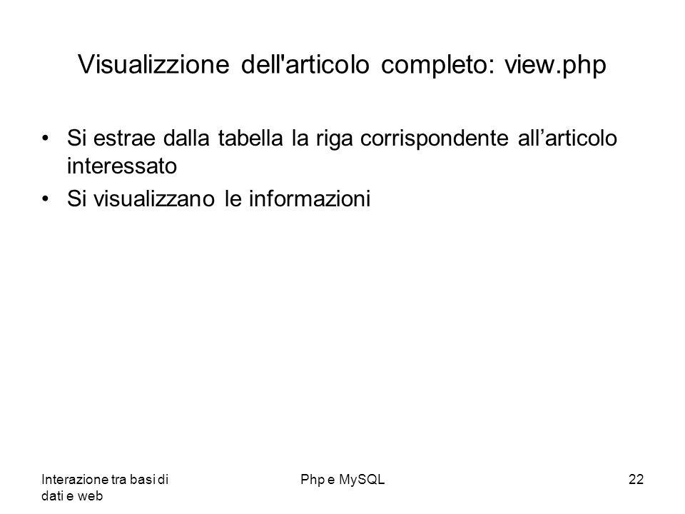 Visualizzione dell articolo completo: view.php