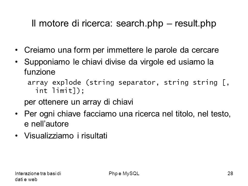 Il motore di ricerca: search.php – result.php