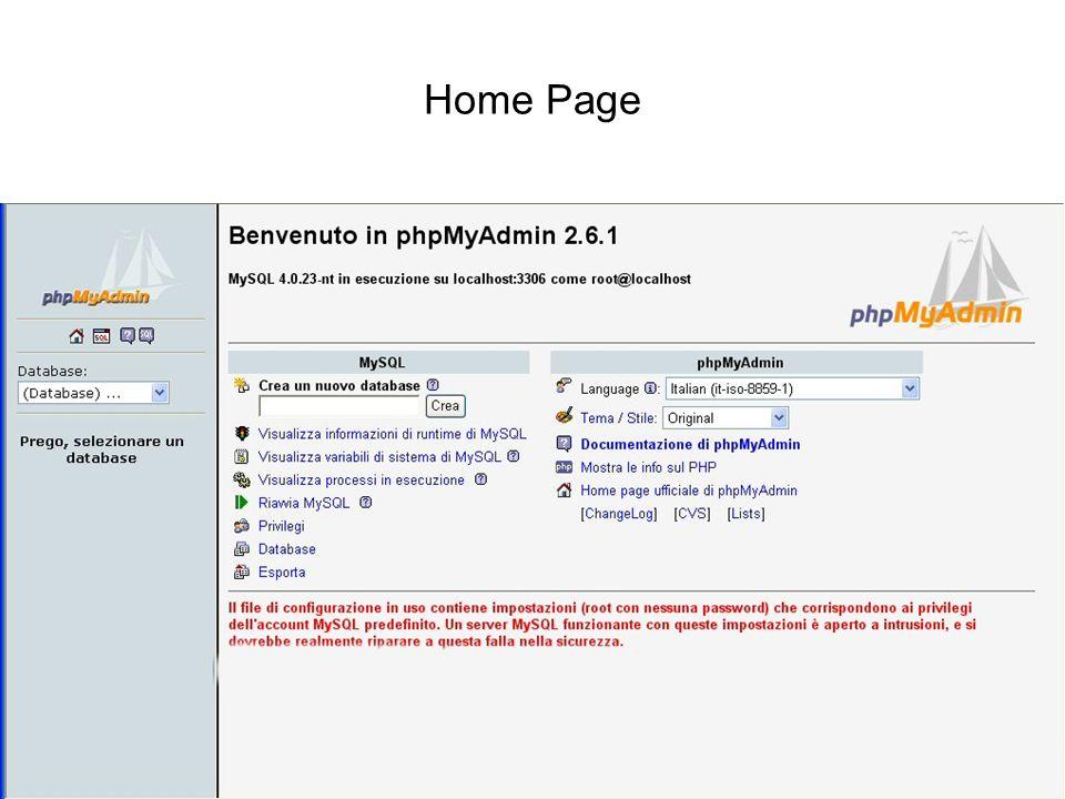 Home Page Interazione tra basi di dati e web PhPMyAdmin
