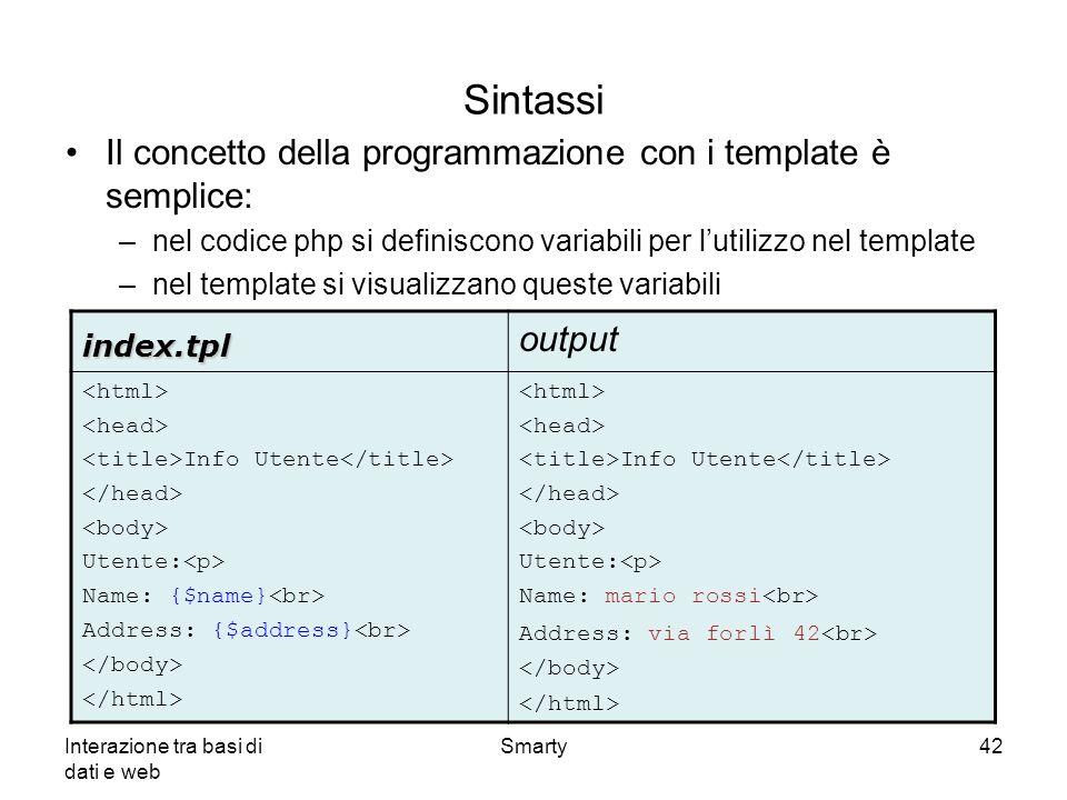 Sintassi Il concetto della programmazione con i template è semplice: