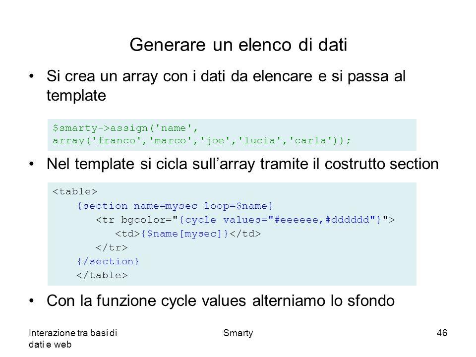 Generare un elenco di dati