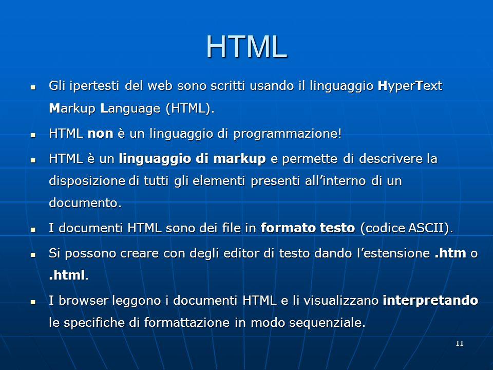 HTML Gli ipertesti del web sono scritti usando il linguaggio HyperText Markup Language (HTML). HTML non è un linguaggio di programmazione!