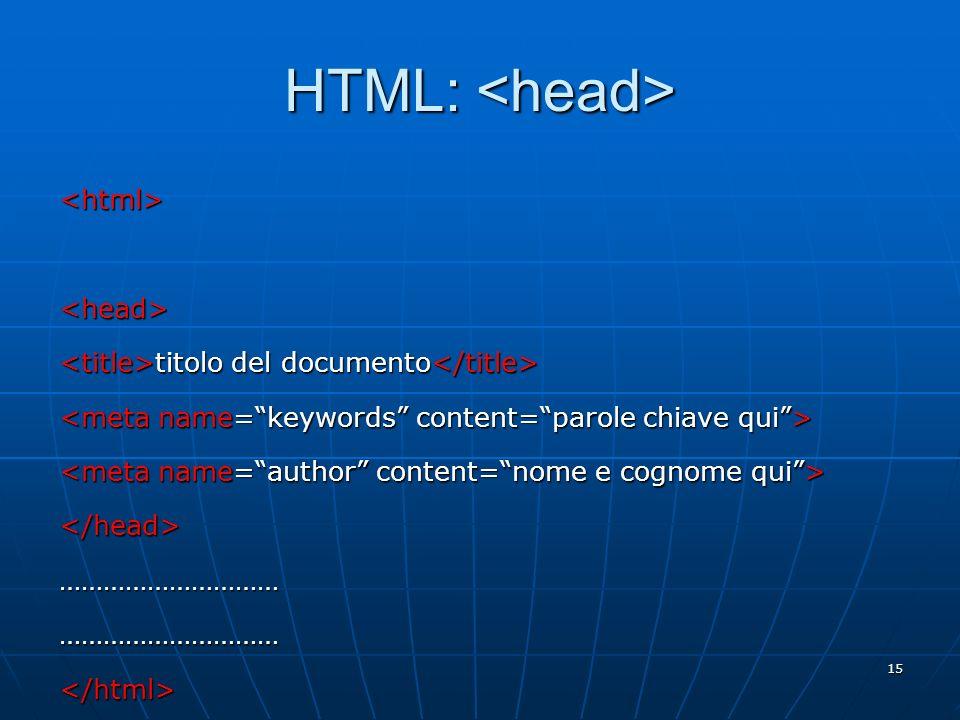 HTML: <head> <html> <head>
