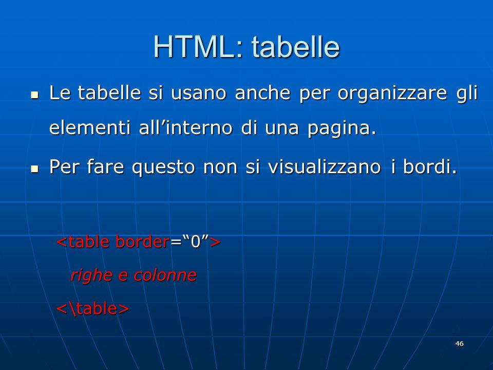 HTML: tabelle Le tabelle si usano anche per organizzare gli elementi all'interno di una pagina. Per fare questo non si visualizzano i bordi.