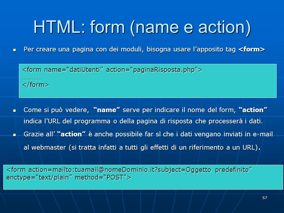 HTML: form (name e action)