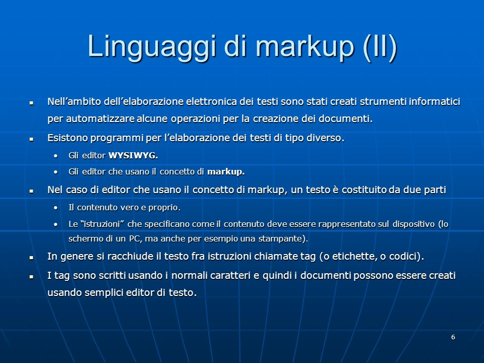 Linguaggi di markup (II)