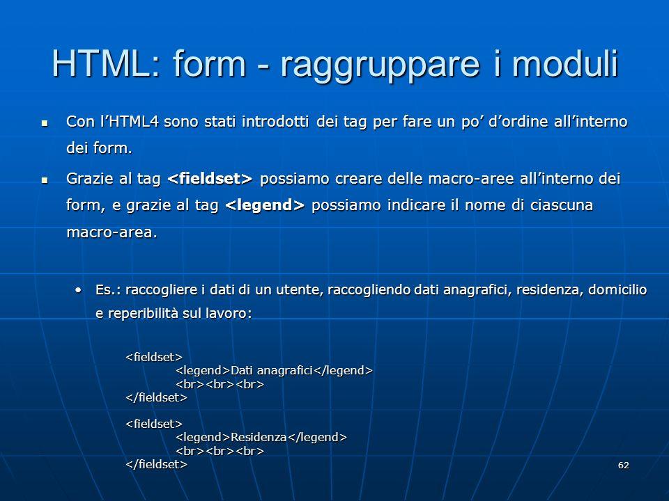 HTML: form - raggruppare i moduli