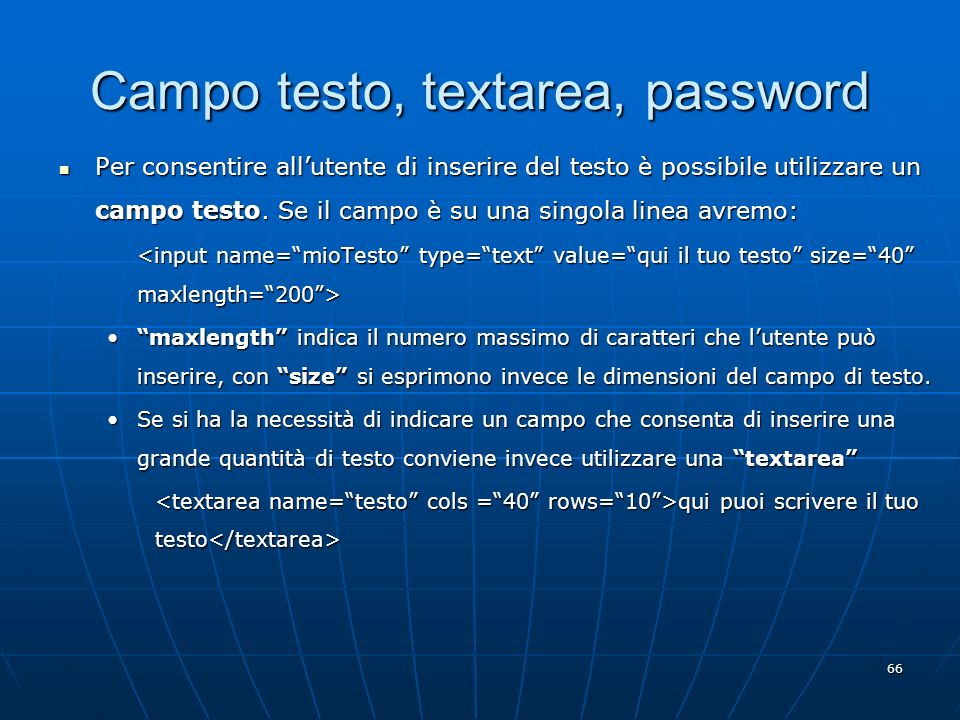 Campo testo, textarea, password