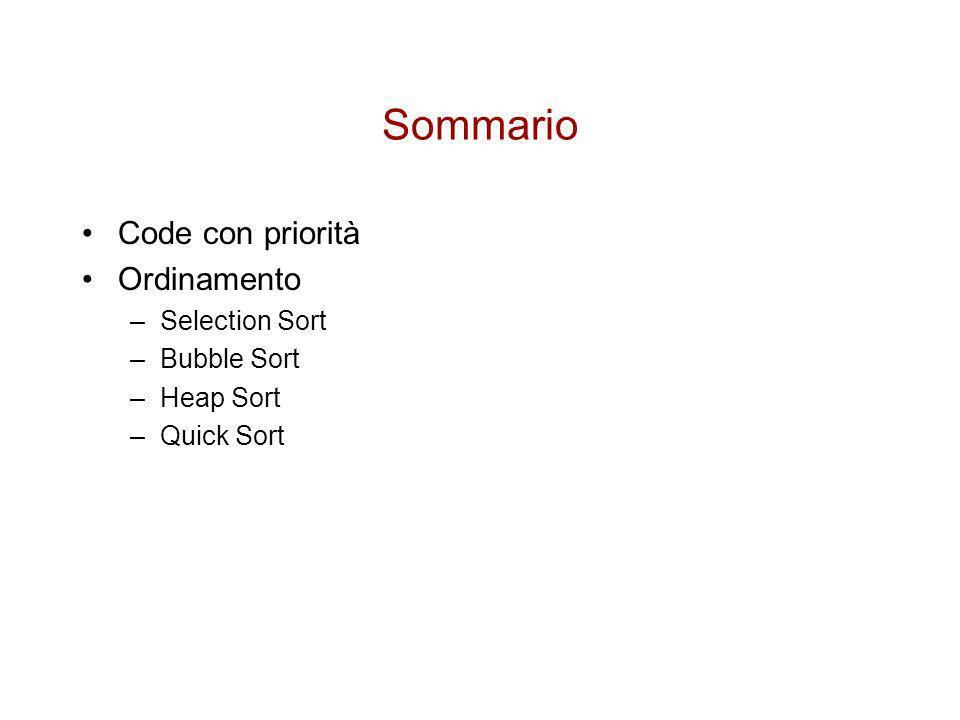 Sommario Code con priorità Ordinamento Selection Sort Bubble Sort