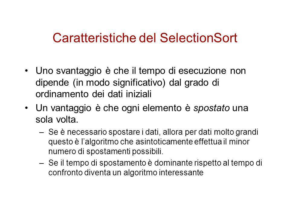 Caratteristiche del SelectionSort