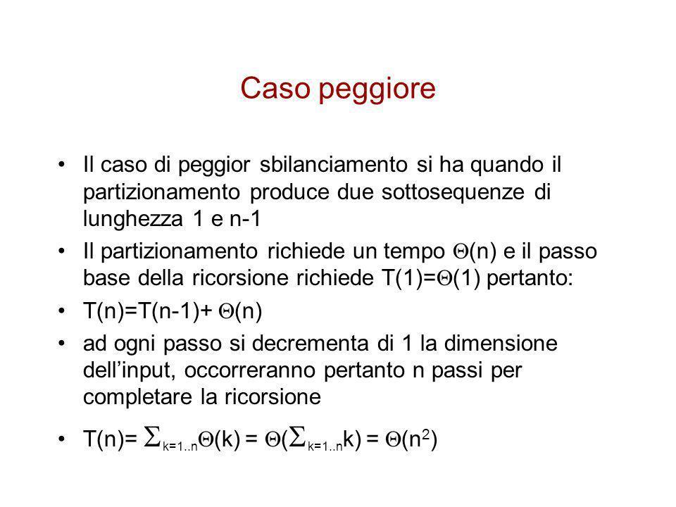 Caso peggiore Il caso di peggior sbilanciamento si ha quando il partizionamento produce due sottosequenze di lunghezza 1 e n-1.
