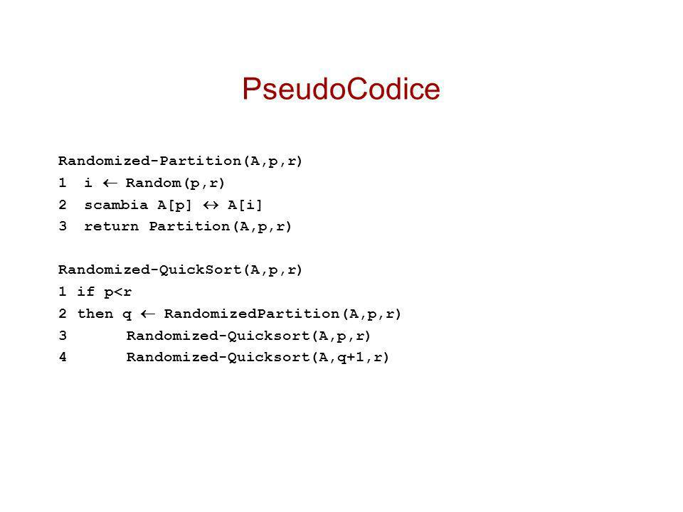 PseudoCodice Randomized-Partition(A,p,r) 1 i  Random(p,r)