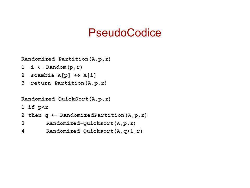 PseudoCodice Randomized-Partition(A,p,r) 1 i  Random(p,r)