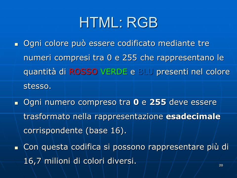 HTML: RGB