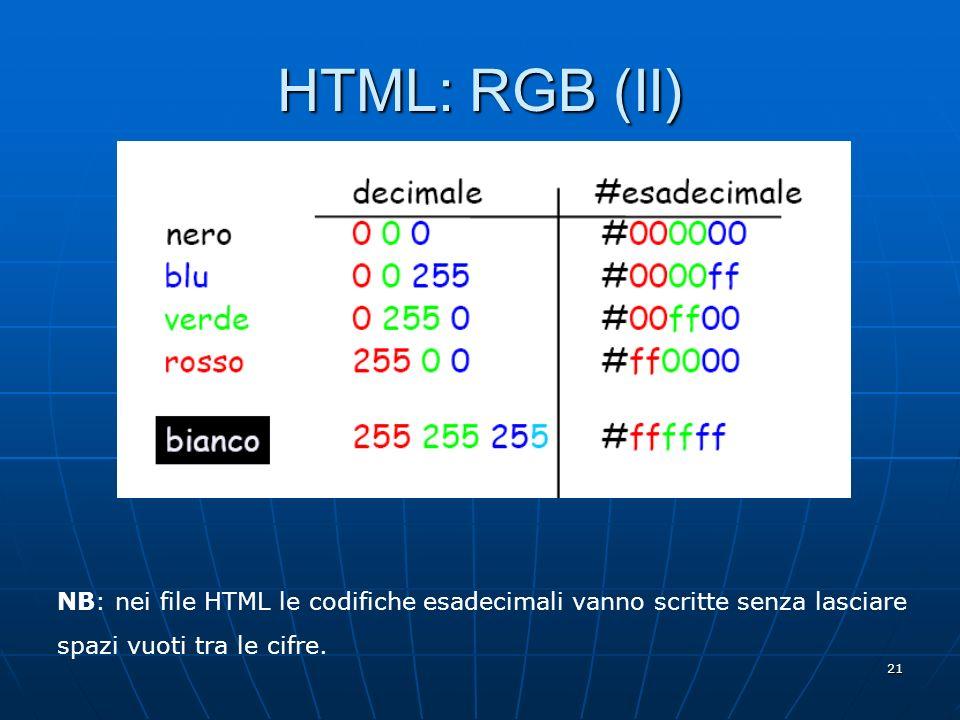 HTML: RGB (II) NB: nei file HTML le codifiche esadecimali vanno scritte senza lasciare spazi vuoti tra le cifre.