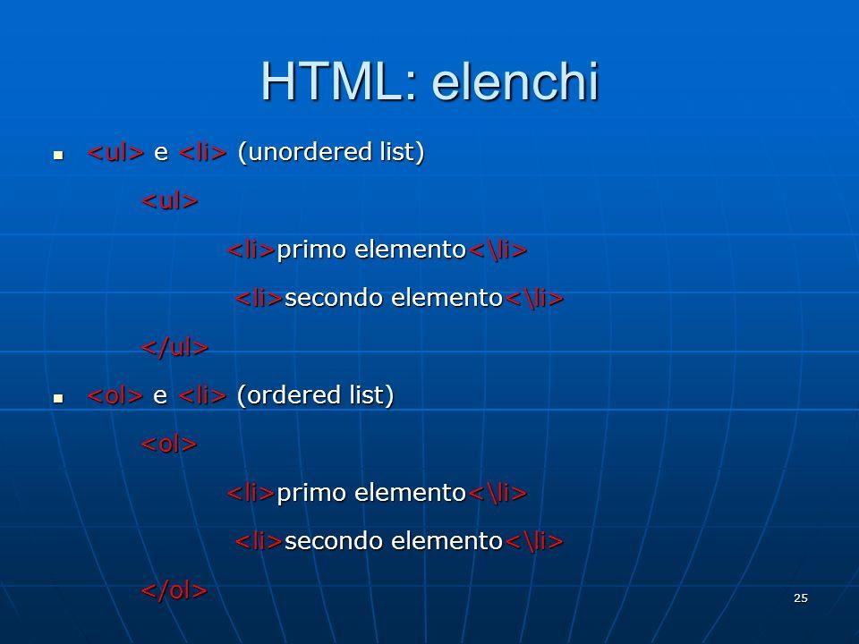 HTML: elenchi <ul> e <li> (unordered list) <ul>