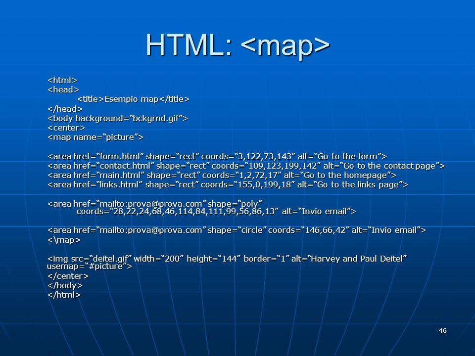HTML: <map> <html> <head>