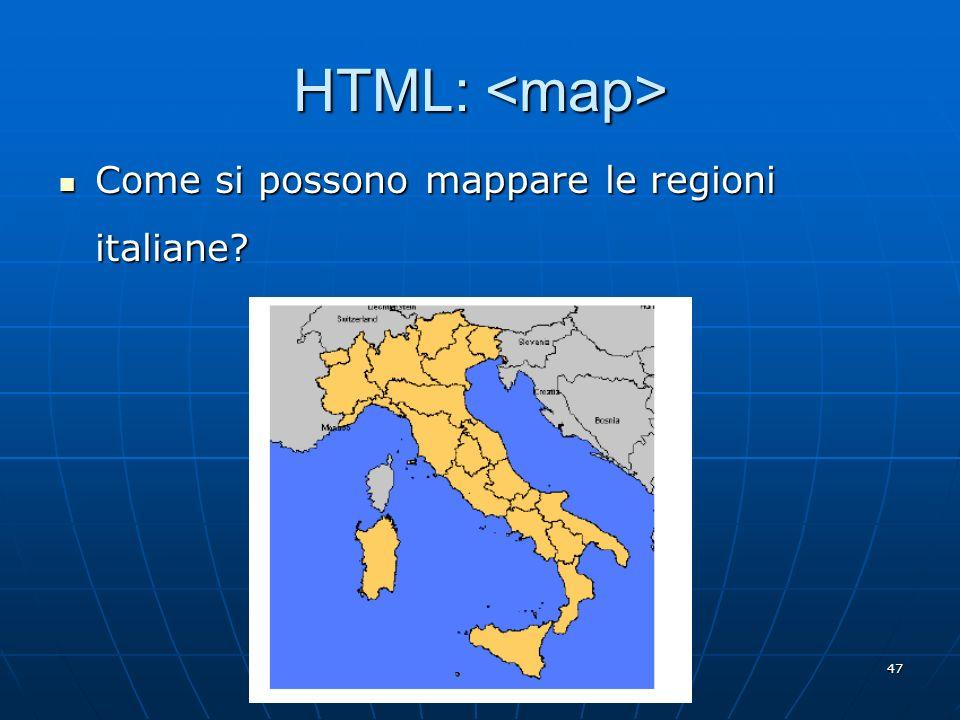HTML: <map> Come si possono mappare le regioni italiane