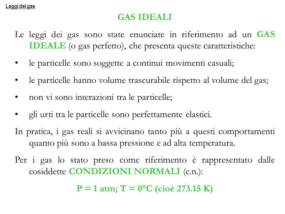 GAS IDEALI P = 1 atm; T = 0°C (cioè 273.15 K)