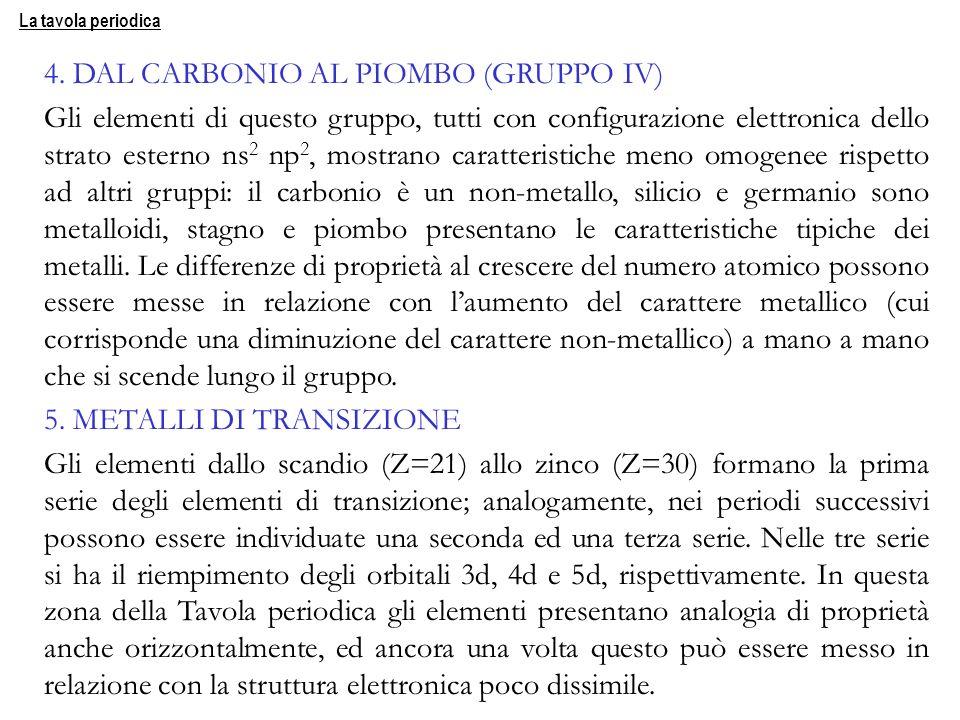 4. DAL CARBONIO AL PIOMBO (GRUPPO IV)
