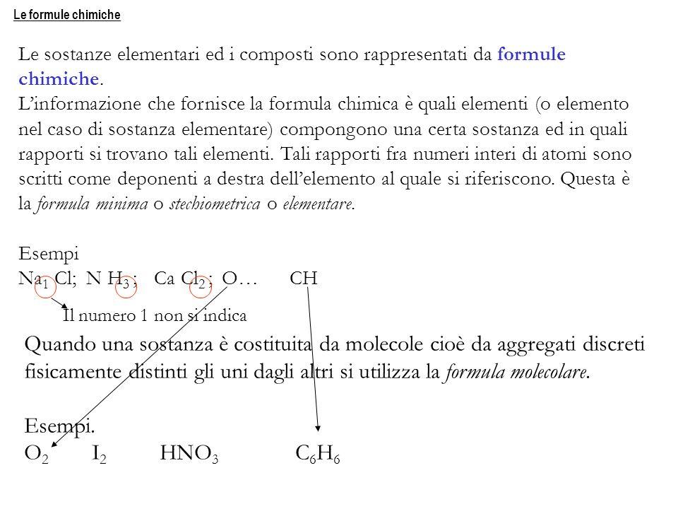 Le formule chimiche Le sostanze elementari ed i composti sono rappresentati da formule. chimiche.