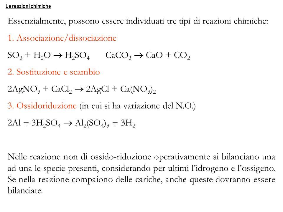 1. Associazione/dissociazione SO3 + H2O  H2SO4 CaCO3  CaO + CO2