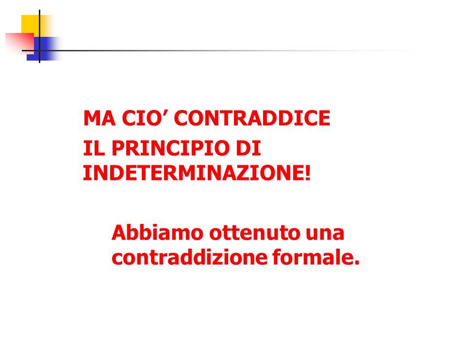 MA CIO' CONTRADDICE IL PRINCIPIO DI INDETERMINAZIONE.