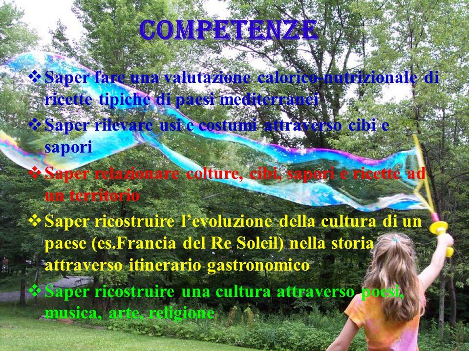 COMPETENZE Saper fare una valutazione calorico-nutrizionale di ricette tipiche di paesi mediterranei.
