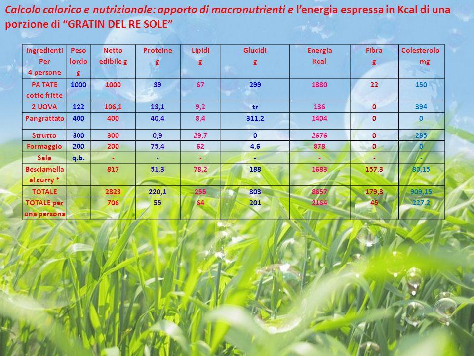 Calcolo calorico e nutrizionale: apporto di macronutrienti e l'energia espressa in Kcal di una porzione di GRATIN DEL RE SOLE