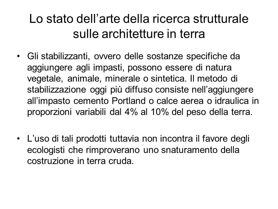 Lo stato dell'arte della ricerca strutturale sulle architetture in terra