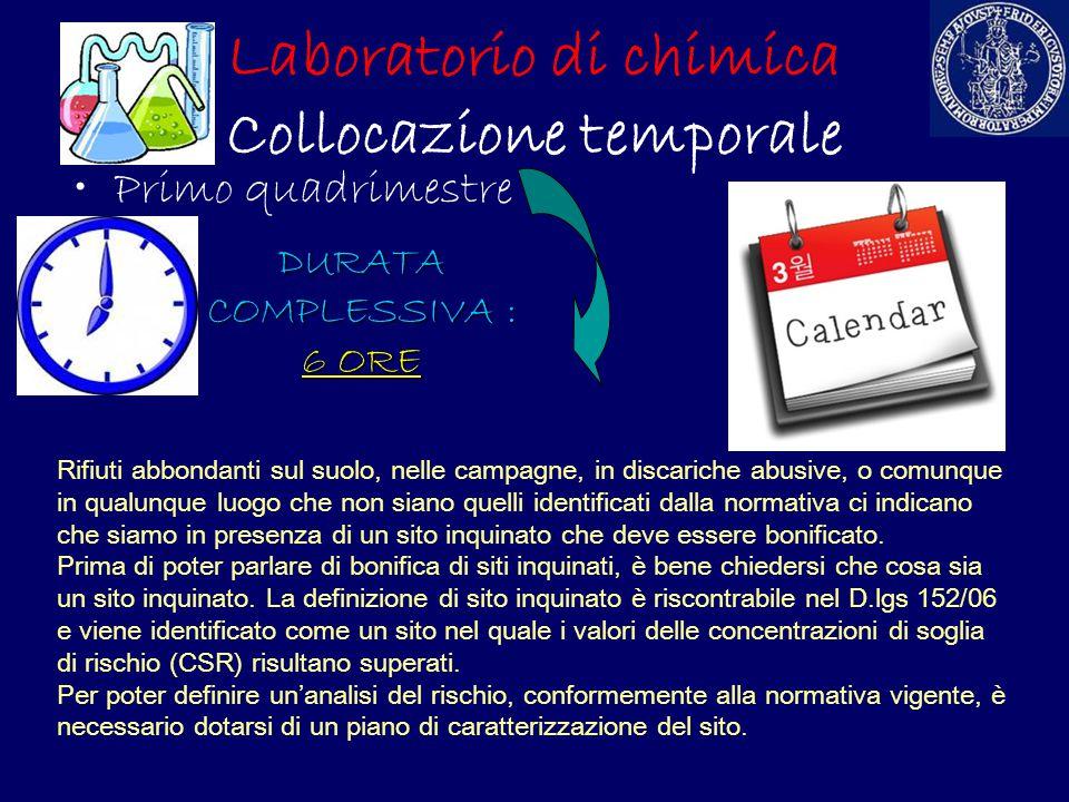 Laboratorio di chimica Collocazione temporale