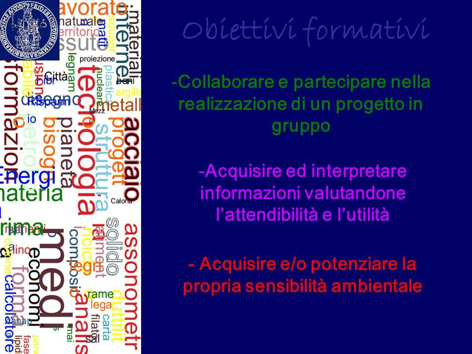 Obiettivi formativi Collaborare e partecipare nella realizzazione di un progetto in gruppo.