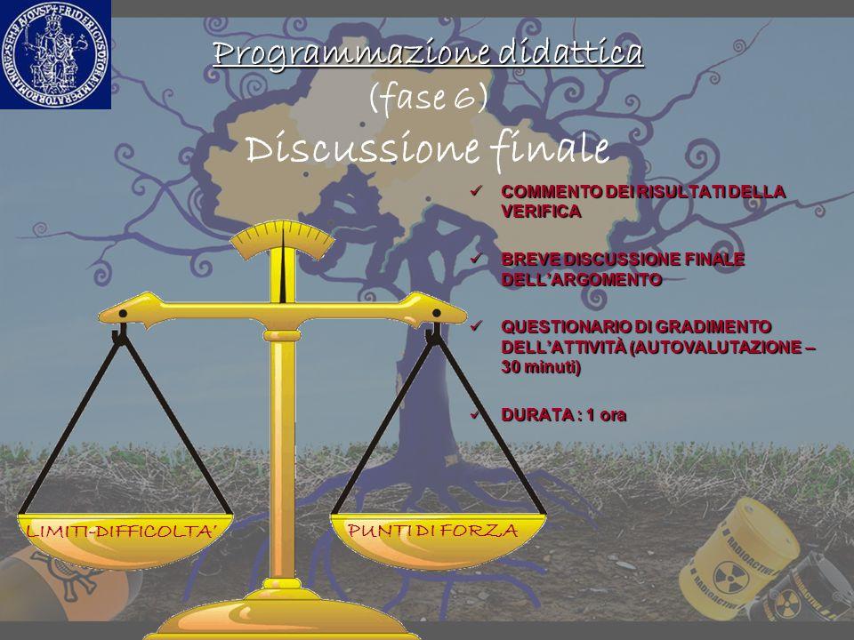 Programmazione didattica (fase 6) Discussione finale