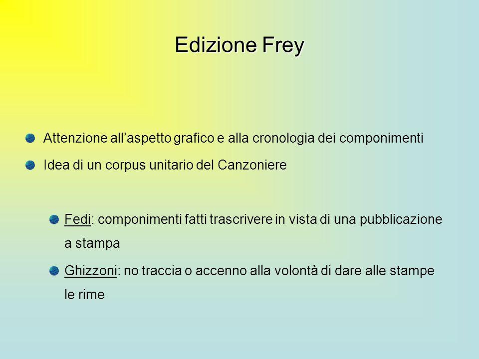 Edizione Frey Attenzione all'aspetto grafico e alla cronologia dei componimenti. Idea di un corpus unitario del Canzoniere.