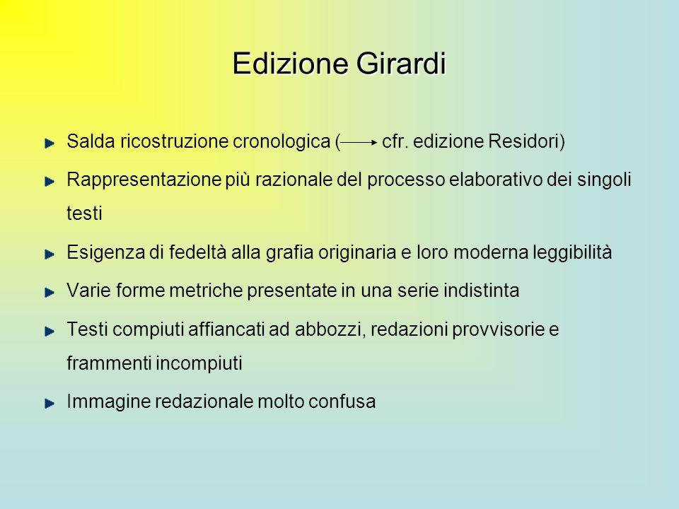 Edizione Girardi Salda ricostruzione cronologica ( cfr. edizione Residori)