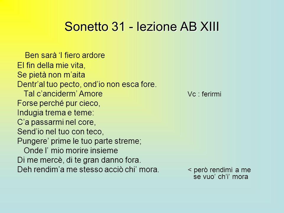 Sonetto 31 - lezione AB XIII