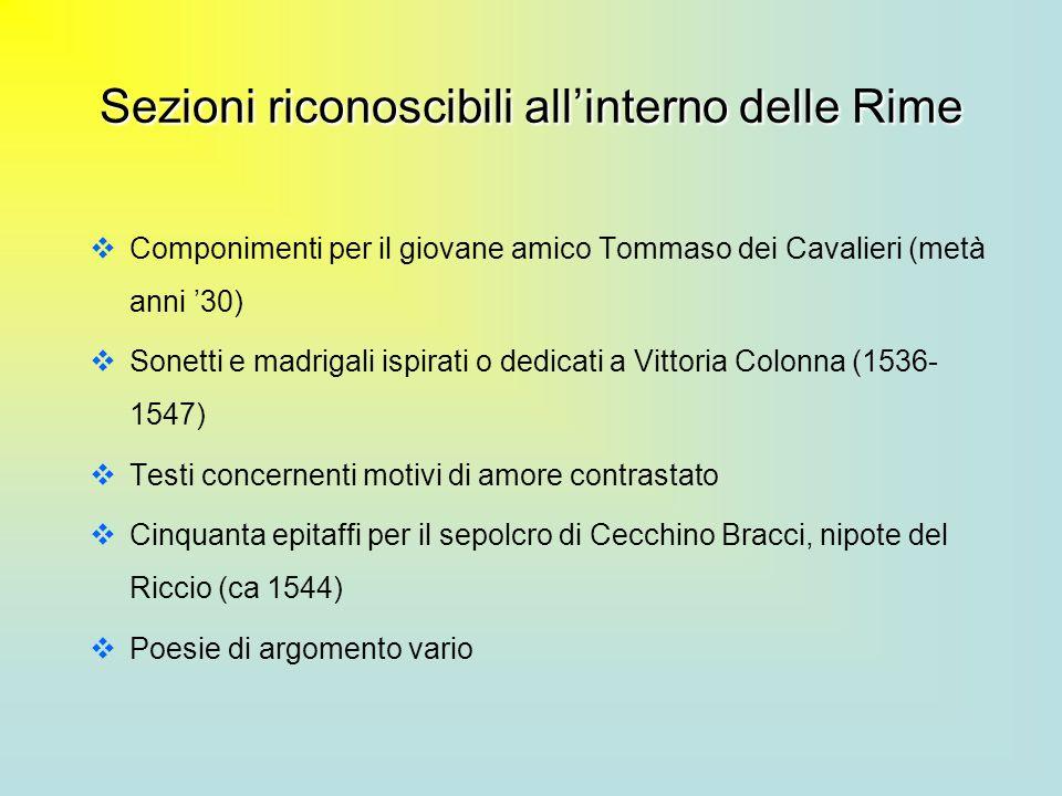 Sezioni riconoscibili all'interno delle Rime