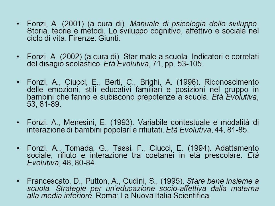 Fonzi, A. (2001) (a cura di). Manuale di psicologia dello sviluppo