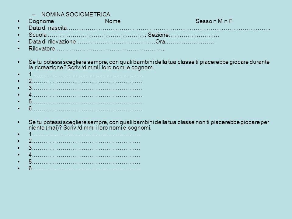 NOMINA SOCIOMETRICA Cognome Nome Sesso □ M □ F.