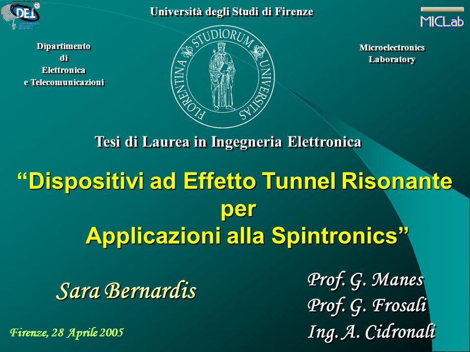 Sara Bernardis Dispositivi ad Effetto Tunnel Risonante per