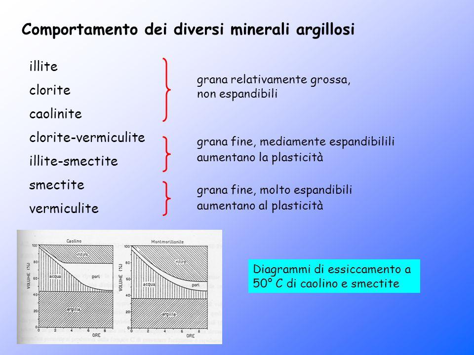 Comportamento dei diversi minerali argillosi